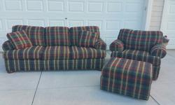 King Hickory couch and oversized chair and large rolling ottoman for sale . Excellent condition almost never used. Asking $800.00 for the 3 pieces OBO.