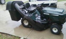 Up for sale is a 42 inch cut riding mower with a 15.5 HP Kohler motor with full pressure lubrication/ filter. Also comes with a dual rear bagger in good shape with the hard boxes (not the cheap bags).
