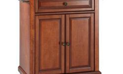 Constructed of solid hardwood and wood veneers, this portable kitchen cart is designed for longevity. The beautiful raised panel doors and drawer front provide the ultimate in style to dress up your k