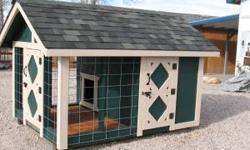 Custom made Doghouse/Kennels** 6 x 8 *4 x 4 Treated Runners*2 x 4 & 4 x4 Construction* 30 Yr. Laminated Shingles*Vinyl Living area Floor*Weather Treated Porch Floor*4 Ga. Wire Fence Panel*Custom Paint