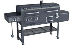 The deluxe Smoke Hollow BBQ grill offers four different functions for a variety of outdoor cooking, including an external sear burner, a gas grill, a charcoal grill, and a side smoker and fire box. Wh
