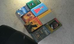 14 different type books ( if you count individually there are 18 total. 2 harry potter one with cover one with out 3 detectives in togas ) all in good to very good shape call or text 864-541-4280 live