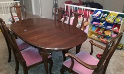 I am selling a nice Ethan Allen 6 piece Mahogany dining room set with china cabinet. The dining table has 6 chairs and two leafs and extends to 98 inches. The China cabinet (has two lights in it) is a
