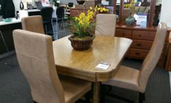 Dining Room Table and four leather dining chairs Great bargin