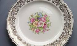 Great set of dishes for special occasions for sale.  This is a nearly complete set for 12.  It features a floral print with gold design and trim.  The set includes the following:   12 dinner plates-10