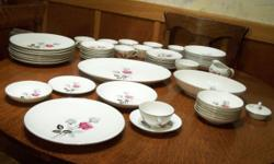 """I have for sale 50 pieces of the """"Gold China Nagoya Shokai"""" In The Patrician Pattern T-1114 which is: Pink & Gray Roses & Buds, Platinum Trim This is an old set (my guess1950's or earlier). It Has bee"""
