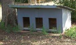 Approximately 4' deep, 8' long Siding painted gray Removable Steel Siding top - easy to clean and move 3 entrances for pets Linoleum on inside floor Dogs prefer to stay in garage and don't need any mo
