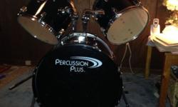 Percussion Plus Drum Set with Sabian Ride Symbol. Used 2 years. Purchased at George's Music in Springfield. In average/good shape, depending on piece. Needs some hardware to reassemble, as some has be