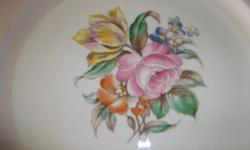 EDWIN M. KNOWLES CHINA CO. Dishes, pattern Kno253. Semi Vitreous. Made in USA. 1942-1945 Beautiful antique FLORAL bouquet. Rose, tulip, lilac and one other flower., green leaves. Pale pink trim, with
