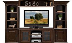 """Berkshire 4 Pc. Entertainment Wall Unit - Retails for $1899  Dimensions: Width: 118"""" Height:96"""" Depth:17""""  Finish: Cherry Material: Pine Solids with Maple Veneers Unique Features: The Rich Cherry Fini"""