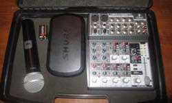 """Type:Equipo de sonidoPar de bocinas 15"""" con altavoz pasivas con cables de 100 ft, mixer xenix 1002 fx behringer con 6 canales y efectos, microfono shure PG58 inhalambrico con base wireless, amplificad"""