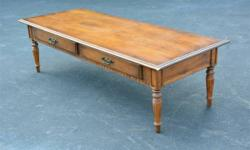 """ETHAN. ALLEN. COFFEE. TABLE.  Two Drawers.  Approximate Size:. 56"""" Long. 22"""" Deep. 16"""" High.   Nice Ethan Allen coffee table with 2. storage drawers.  Overall it is in great condition. It has two. dov"""
