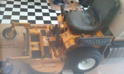 Walker Mower GHS 9.5 bushel bagger with 20 horsepower kohler engine. (only 460 hours) 36 inch fold-up deck with 4 extra set of blades already sharpened and balanced. Speed up kit on hydro drive, new battery, new seat with tilt, extra belts, extra working