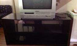 "Expresso tv stand, 3 glass shelves, up to 50"", like new condition!"