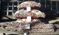 """New With Tags Vintage Fringed Woven Tapestry Set: Three Pillows & Throw Measurements: Two Larger Pillows 16"""" x 16"""" One Smaller Pillow 12"""" x 12"""" Throw 50"""" x 60"""" Colors are Oxblood/Rose, Blue/Lighter Bl"""