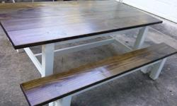 Beautiful farmhouse table and benches. They have a dark walnut stain on the top. When I took the pictures it had one coat of polyurethane. Will be putting one more coat. The table does have a small fl