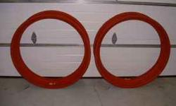 Cleaned, primed & ready for tires!! Farmall H or M 9 x 38 rear tractor rims. Paint the outside, install the tires, put them on the tractor & head to the show, it's just that simple. $100.00 each. Emai