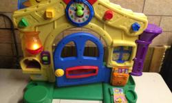 Fisher Price Laugh & Learn Learning Home features all initial devices. The electronics are in excellent condition, batteries consisted of. This plays songs, helps discover counting and abc's, has work