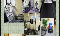 Pull /Roman chair/dip/push up station new over $200 selling $75 Hexagon dumbbells pairs 5lbs-50lbs new $1.50 pound selling .50 pound Horizon elliptical new $1199 like new condition selling $500 Schwin