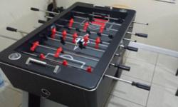 Used $175 firm Excellent condition! Sturdy, black foosball table cabinet with Easton logo Black tabletop surface with white and red field markings Thick foosball table legs End foosball ball returns R