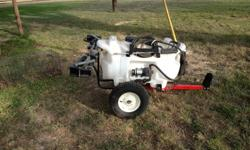 This sprayer is brand new!  It has never been used.  Fully assembled.  40 gal corrosion resistant polyethyene tank, 12 volt diaphragm pump, deluxe pistol grip handgun 25ft handgun hose