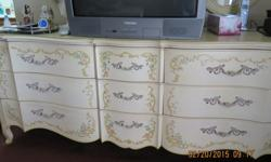 """Vintage Rococo headboard by Drexel Heritage! A matching dresser, 2 mirrors, two night stands. Headboard is approximately 74"""", so I believe it to be a King size.Very nice set.To receive coupons, sign u"""