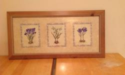 Wood framed flower print -looks fantastic in kitchen area, corridor and even a den. Any garden fan would like it. See pictures. It was initially $47 compared to retail $62 and can be yours for $20 OBO
