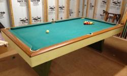 I have for sale a regulation size swimming pool table that has been taken care of and kept covered. This is a pool table sold by the then Sears Roebuck and Company. I'm not specific but it needs to be