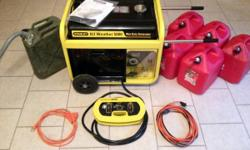 STANLEY 5000 Running Watt, 6500 Surge Watt Commercial Duty All Weather Portable Generator.  With 5 Five Gallon Red Plastic Gas Cans, 1 Five Gallon Olive Drab Steel U.S. Jerry Can and Nozzle, and 2 Ext