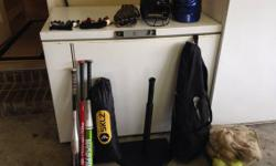 Girls Fastpitch gear, great for beginners.   Worth Storm bat, 30 in/17 oz   Mizuno bat - sold  SKZL lighting rod training bat  SKZL 7 foot training net  Rawlings batting tee  Louisville slugger diva g
