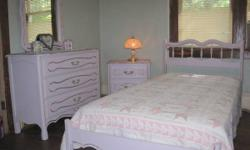Get the whole thing pictured for $450.  Vintage 4 piece bed room set (1960's) with devices as shown, consisting of: Twin bed (headboard, foot board, side rails, 3 support boards, innerspring mattress