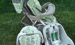 This set features the Happy Day Pooh Theme and was only used several times before my daughter outgrew it. Everything is still in excellent condition and works perfectly. The car seat holds infants 5-2
