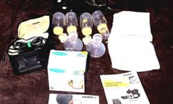 BREAST PUMP, BAG AND ALL SUPPLIES ARE CLEAN AND STERILIZED. COMES WITH:2 PERSONAL FIT BREAST SHIELDS, 2 CONNECTORS, 2 VALVES, MEMBRANES, LIDS, BATTERY PACK, TUBING, COOLER BAG, POWER ADAPTER AND ON TH