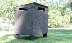 Ground blind/box stand with swivel back chair. Light weight but very solid, assembles and disassembles in minutes with the use of wing nuts-no tools necessary. When apart will store nicely for the off