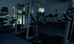 Full range of equipment all in very good condition. body solid- recumbent ab machine, elliptical, Troy dumbells 5 to 70lb. with rack, flat bench, incline bench, heavyweight adjustable bench, pre