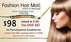Conveniently Found in Chinatown in Philly. Walk-ins Constantly Welcome! Restricted time DEAL! JUST $98 for Japanese Straightening/Perm ($180 worth). Offer Valid on weekdays prior to 12:00 PM! Call us