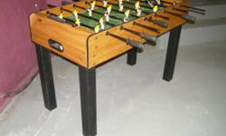 """For your consideration is a HALEX Foosball table. This measures approx 48"""" long x 24"""" wide x 32"""" high. Team colors Black and Yellow. 5 Balls come with this game. Very good condition. We are asking $25"""