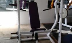 I have for sale a Hammer Strength Shoulder Press that is in great shape and works excellent. It has a white frame, yellow arms, and purple upholstery. Hammer Strength machines are true commercial piec