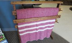"""Well made stained Pine Quilt Rack with 3 slatsMeasures 34""""L x 37""""H x 12""""W at feet.Woodworker Hobbyist will do special orders upon request."""