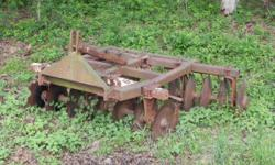 18 disc harrow in good shape.3 point hitch with easy adjustment.Call William at 478-986-6322.please leave a number you can be reached at if no answer. // //]]> Location: Gray Ga