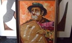 Herschel Fullen, 1930-50's Brown County Artist. Part owner of an art gallery in Bean Blossom, Brown County Indiana. This painting is oil on canvas and features Emmett Kelly. It measures 24x30. If you