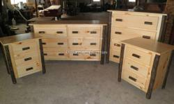 Hickory & Pine Log Bedroom Set - Top quality amish furniture at method BELOW list prices!  This specific set consists of hickory & want 6 drawer long/low dresser, 4 drawer chest, and (2) Nightstands w