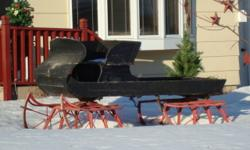 We no longer have our horses and now wish to sell our sleigh. Wood sleigh with iron runners.
