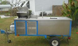 i have a hot dog /food cart it has the steamer/grill and 100 can soda cooler it has 5 gallon fresh water container and 10 gallon waste water container with hot and cold running water and 3 sinks with