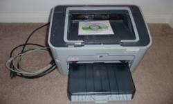 HP Laserjet printer for sale - model P1505. Excellent condition (cost $150 new). Black and white laser printer. Comes with driver installation disc. Needs new toner cartridge, the current one is very