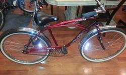 Very Nice Huffy Males's Beach Cruiser. Bright Red. Muscle-style Framework. Matches Folks 5-6.5. May really feel a little bit large for a person on the reduced elevation range. 20in. Chrome Fenders. Ni