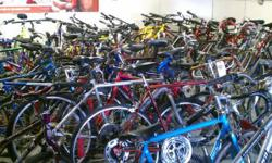 We are having actually a huge used bike sale today from 10-5. We have all kinds of bicycles here at thumas bikes. We have great deals of roadway bikes, som mtb as well as some hybrid bikes. We even ha