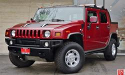 2005 Hummer H2 SUT in Red Fire Metallic with Ebony Leather Interior. 6.0L 325hp/365lb-ft V8 Engine. 4-Speed Electronic HD Automatic Trans. 4-Wheel Drive. This fabulous one-owner Red / Black 2006 Humme