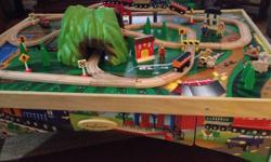Fantastic train table, tracks, trains, and figurines for sale! This table is in very good condition with a reversible table top and storage drawer. Comes with all the pieces posted in the pictures, in