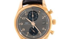 Pre-Owned IWC Portuguese Chronograph Classic (IW390405) self-winding automatic watch, features a 42mm 18k rose gold case surrounding a grey anthracite dial on a black crocodile Santoni strap with an 18k rose gold tang buckle. Functions include hours,